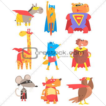 Animas Dressed As Superheroes Set Of Geometric Style Stickers