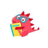 Red Dragon Reading A Book Illustration