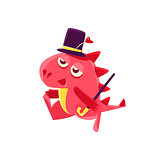 Gentleman Red Dragon Illustration