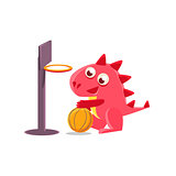 Red Dragon Playing Basketball Illustration
