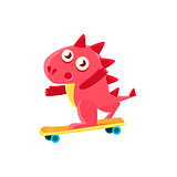 Red Dragon Skatebording Illustration