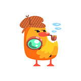 Duckling Private Detective Cute Character Sticker
