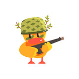Duckling Soldier Cute Character Sticker