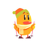Duckling Skiing Cute Character Sticker