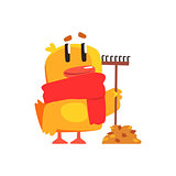 Duckling With Rake And Autumn Leaves Cute Character Sticker