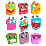 Square Face Colorful Emoji Set