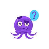 Funny Octopus Raising Eyebrow Emoji