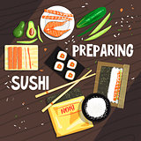 Preparing Sushi Ingredients And Technique