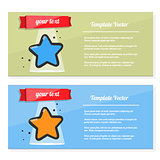 Booklet vector, flyer set with image of a star. Template award, certificate, prize or postcard.