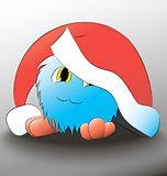 monster Cute cartoon blue christmas hat