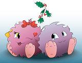 two cute cartoon monster Christmas mistletoe
