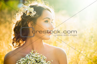 Beauty Portrait of Innocent Young Girl at Sunset