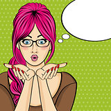 Surprised pop art  woman  . Comic woman with speech bubble. Pin