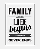 "Retro motivational quote. "" Family where life begins and love ne"