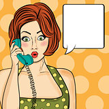 Surprised pop art  woman chatting on retro phone . Comic woman w