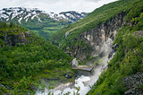 Kjosfossen waterfall view from upper point. Norway