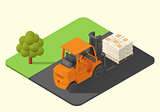 forklift truck vector stacker