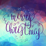 Merry christmas lettering postcard