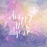 Happy new year lettering postcard