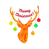Colorful textured sillhouette of deer head with christmas tree toys on horns and text Merry