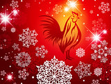 2017 New Year Christmas Red Fire Rooster Background