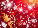 New Year of Red Fire Rooster Bright Background