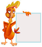 Funny red rooster holding white sheet. Cock symbol 2017