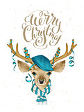 Christmas deer head in blue fashionable hat and striped scarf. Merry Christmas. Lettering text