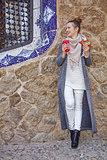 happy traveller woman at Guell Park at Christmas looking aside