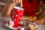 Closeup on young woman with christmas snacks