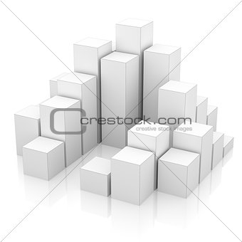 City of boxes isolated on mirror floor