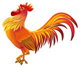 Red golden rooster symbol of 2017 by Chinese calendar