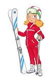 Beautiful girl in helmet with mountain ski. Sport