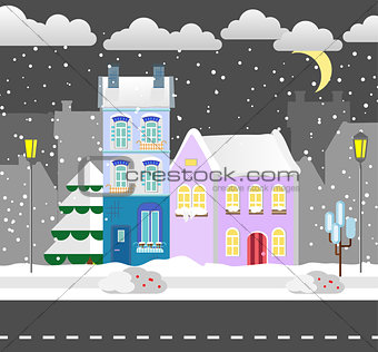 Flat style winter house. Cottage. Vector illustration. Snowfall background.  design  card.
