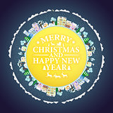 Holidays frame with winter houses and trees. Merry Christmas  Happy New Year lettering Vector illustration