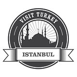 Istanbul stamp with silhouette of mosque - visit Turkey