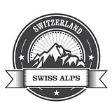 Alps Mountains stamp - Switzerland label with ribbon
