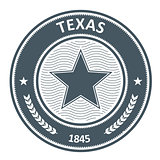 Texas emblem - round stamp with star