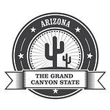 Arizona state round stamp with cactus and ribbon