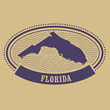 Oval stamp with Florida state silhouette - FL label