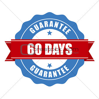 60 days guarantee stamp - warranty sign