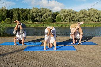 people making yoga in crane pose outdoors