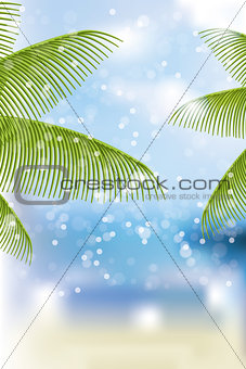 Beach background with palm branches