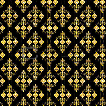 Abstract Glossy Golden Vintage Retro Seamless Pattern Background