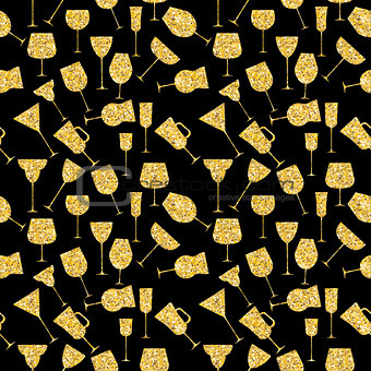 Martini Glass Seamless Pattern Vector Iillustration