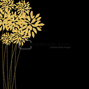Abstract Floral Glossy Golden Background. Gold Flowers on Black.