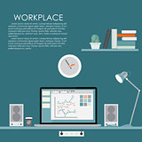 Modern Workplace. Vector illustration. Flat Computing Background