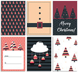 Collection of 6 Christmas card templates. Christmas Posters set. Scandinavian illustration. New Year collection. Greeting seasonal for scrapbooking and invitations.