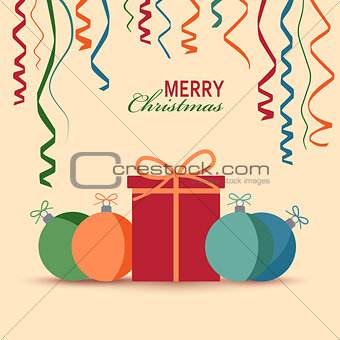 Christmas card with gift and colored balls