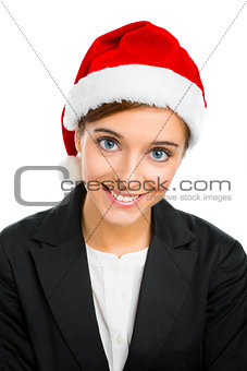 Beautiful woman with a Santa hat